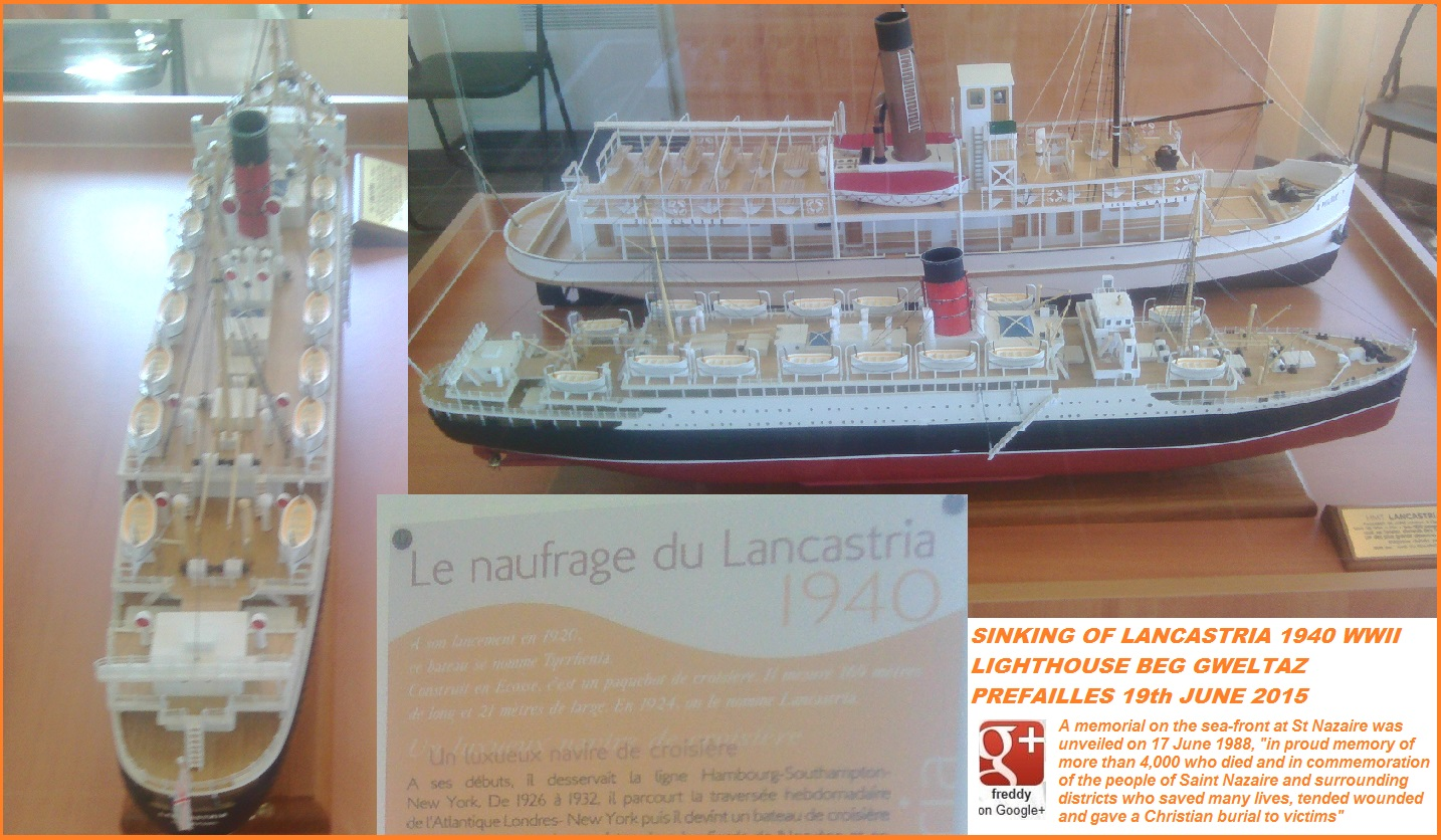 SINKING OF LANCASTRIA : LIGHTHOUSE PREFAILLES