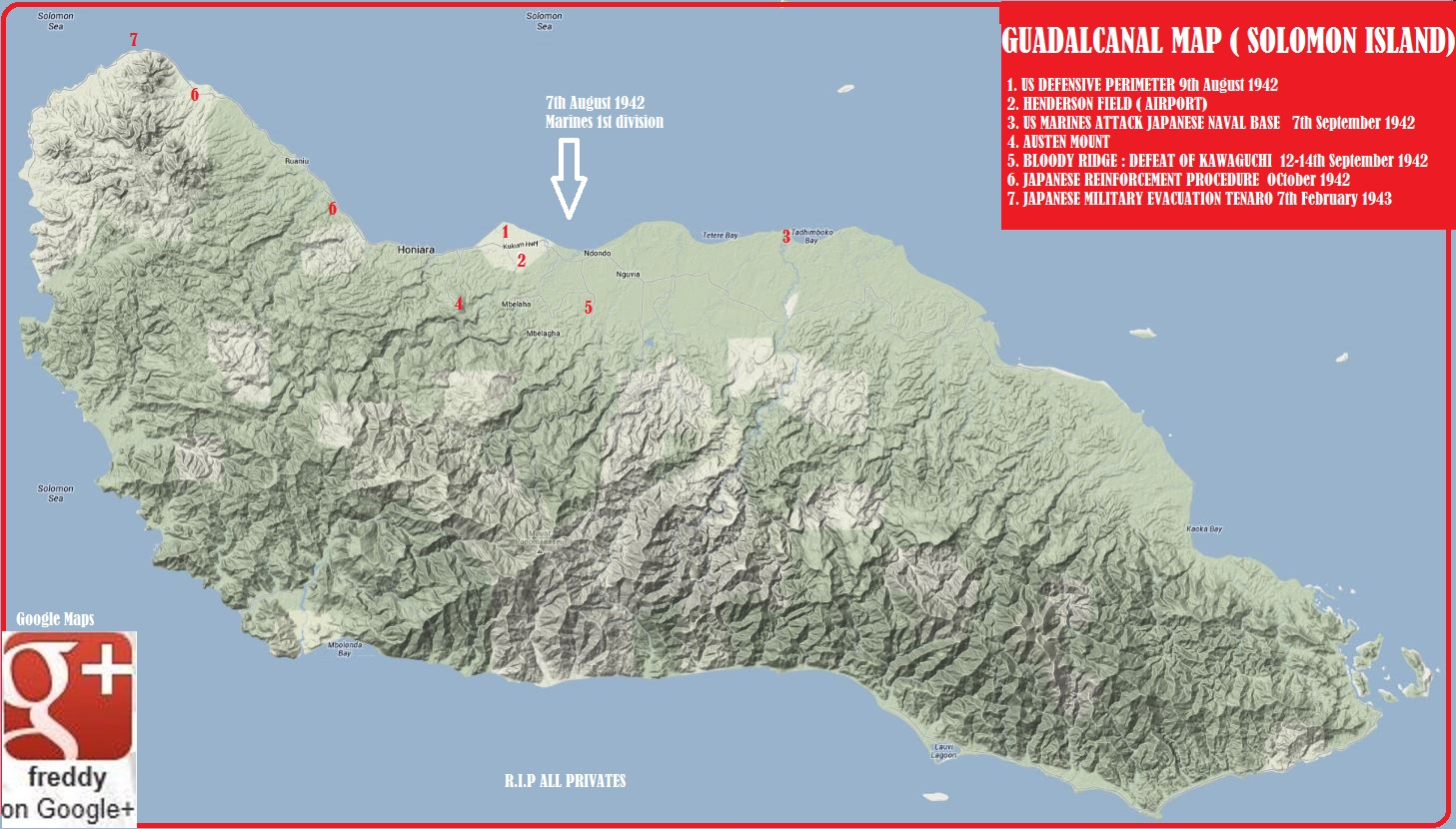 GUADALCANAL MAP by Frederic PETIT-DIEULOIS