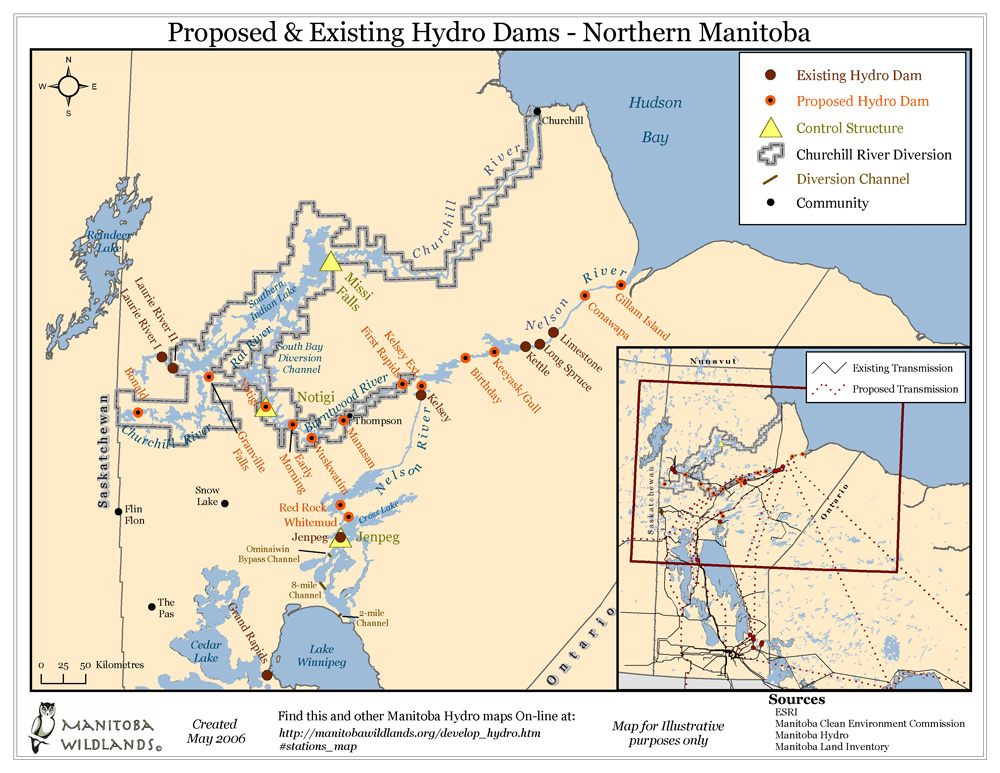 MANITOBA WILDLANDS : MAP OF DAMS PETIT-DIEULOIS