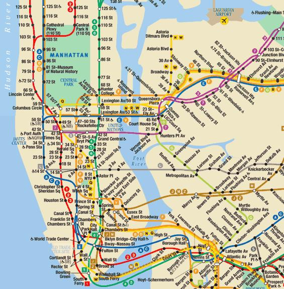 plan du metro NYC- Carte RER - NYCSUBWAY - NYC Tube underground