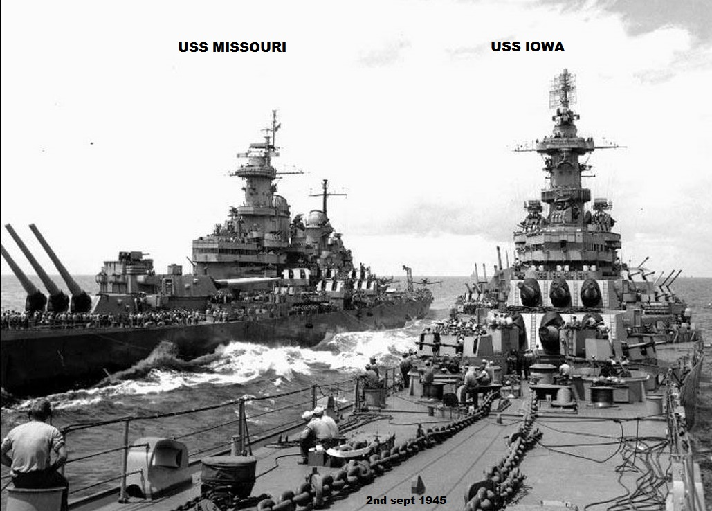 USS IOWA MISSOURI 1945