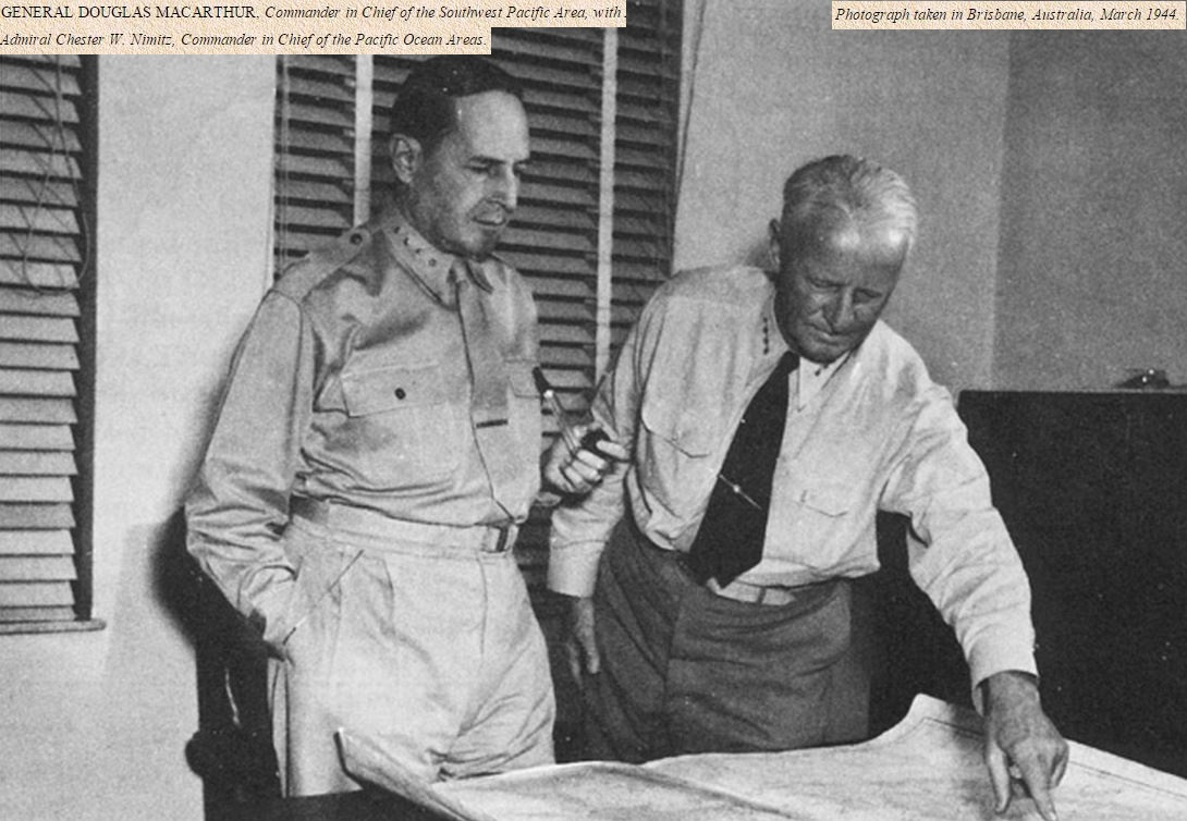 General McArthur + Admiral Nimitz: PACIFIC THEATER